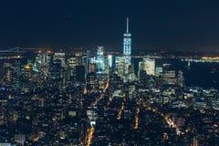 Εναέρια άποψη νύχτας της πόλης της Νέας Υόρκης Στοκ φωτογραφία με δικαίωμα ελεύθερης χρήσης
