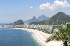 Εναέρια άποψη οριζόντων της Βραζιλίας Ρίο ντε Τζανέιρο παραλιών Copacabana Στοκ Εικόνα