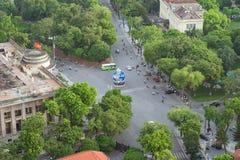 Εναέρια άποψη οριζόντων των σταυροδρομιών LE Lai - LY Ταϊλανδός - οδός ΜΚΟ Quyen, περιοχή Hoan Kiem Το Hoan Kiem είναι κέντρο της Στοκ φωτογραφία με δικαίωμα ελεύθερης χρήσης