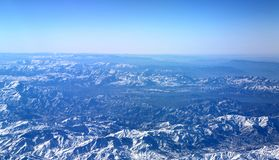 Εναέρια άποψη πέρα από τα βουνά Zagros, Ιράν Στοκ Εικόνες