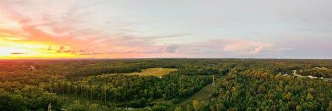 Εναέρια άποψη πέρα από τη νότια Καρολίνα της Υόρκης στο ηλιοβασίλεμα στοκ εικόνα με δικαίωμα ελεύθερης χρήσης