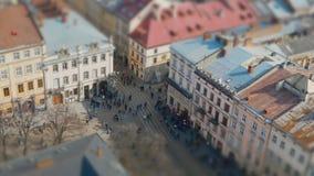 Εναέρια άποψη πέρα από τις οδούς Lviv απόθεμα βίντεο