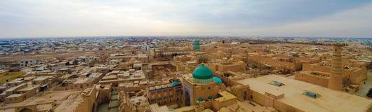 Εναέρια άποψη πανοράματος στην παλαιά πόλη Khiva, Ουζμπεκιστάν Στοκ Φωτογραφίες