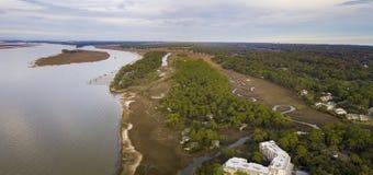 Εναέρια άποψη πανοράματος του επικεφαλής νησιού Hilton, νότια Καρολίνα, ΗΠΑ στοκ εικόνες με δικαίωμα ελεύθερης χρήσης