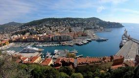 Εναέρια άποψη πρωινού του διάσημου LE Port με τα σκάφη, που χτίζει από το Hill του Castle απόθεμα βίντεο
