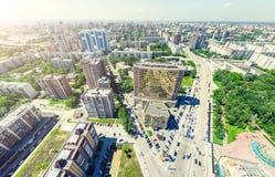Εναέρια άποψη πόλεων landscape urban Πυροβολισμός Copter εικόνα πανοραμική στοκ φωτογραφία με δικαίωμα ελεύθερης χρήσης