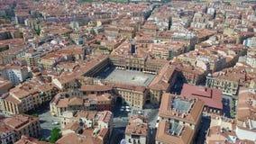Εναέρια άποψη Σαλαμάνκας με το κύριο τετράγωνο όπου η αίθουσα πόλεων βρίσκεται, Ισπανία απόθεμα βίντεο