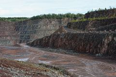 Εναέρια άποψη σε ένα porphyry ορυχείο λατομείο Στοκ εικόνα με δικαίωμα ελεύθερης χρήσης