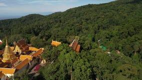 Εναέρια άποψη σε Wat Phra που ναός Doi Suthep σε Chiangmai, Ταϊλάνδη φιλμ μικρού μήκους