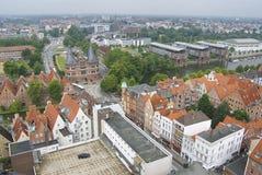 Εναέρια άποψη στην παλαιά πύλη πόλεων και πόλεων Holstentor στο Λούμπεκ, Γερμανία Στοκ εικόνα με δικαίωμα ελεύθερης χρήσης