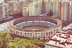 Εναέρια άποψη στη Μάλαγα με την αρένα ταυρομαχίας του Λα Malagueta Εικονική παράσταση πόλης ο Στοκ φωτογραφίες με δικαίωμα ελεύθερης χρήσης