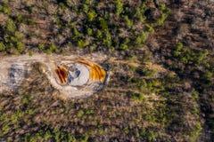 Εναέρια άποψη στο ανοικτό ορυχείο στοκ φωτογραφίες με δικαίωμα ελεύθερης χρήσης