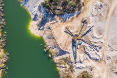 Εναέρια άποψη στο ανοικτό ορυχείο στοκ φωτογραφία με δικαίωμα ελεύθερης χρήσης