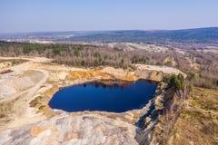 Εναέρια άποψη στο ανοικτό ορυχείο στοκ εικόνα με δικαίωμα ελεύθερης χρήσης