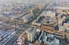 Εναέρια άποψη σχετικά με την κεντρική κατοικημένη περιοχή Tyumen Στοκ Φωτογραφία