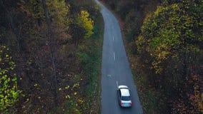 Εναέρια άποψη σχετικά με την οδήγηση αυτοκινήτων μέσω του δασικού δρόμου φθινοπώρου τοπίο φθινοπώρου φυσικό φιλμ μικρού μήκους