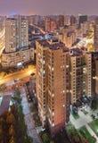 Εναέρια άποψη σχετικά με την πυκνότητα της Σαγκάη το βράδυ στοκ εικόνες με δικαίωμα ελεύθερης χρήσης