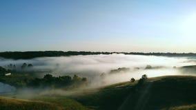 Εναέρια άποψη σχετικά με τον τομέα με την ομίχλη απόθεμα βίντεο