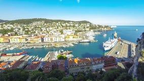 Εναέρια άποψη σχετικά με το λιμένα της Νίκαιας, γαλλικό Riviera, Γαλλία απόθεμα βίντεο