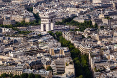 Εναέρια άποψη σχετικά με Arch de Triumph από τον πύργο του Άιφελ, Παρίσι Στοκ Εικόνα