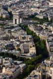 Εναέρια άποψη σχετικά με Arch de Triumph από τον πύργο του Άιφελ, Παρίσι Στοκ Εικόνες