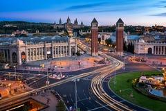 Εναέρια άποψη σχετικά με Placa Espanya και το Hill Montjuic Στοκ Εικόνα