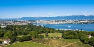 Εναέρια άποψη της λίμνης Leman - πόλη της Γενεύης στην Ελβετία Στοκ Εικόνα