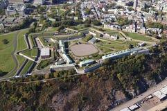 Εναέρια άποψη της ακρόπολης, το παλαιό φρούριο της πόλης του Κεμπέκ στοκ εικόνες