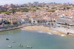 Εναέρια άποψη της ακτής του Κασκάις κοντά στη Λισσαβώνα, Πορτογαλία Στοκ εικόνα με δικαίωμα ελεύθερης χρήσης