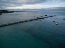 Εναέρια άποψη της αποβάθρας Flinders με τις δεμένες βάρκες Μελβούρνη, Austr Στοκ φωτογραφίες με δικαίωμα ελεύθερης χρήσης