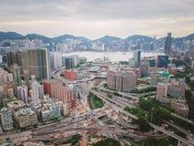 Εναέρια άποψη της αστικής περιοχής του Χονγκ Κονγκ Στοκ Εικόνες