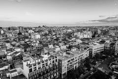 Εναέρια άποψη της Βαλένθια, Ισπανία το βράδυ Στοκ Φωτογραφία