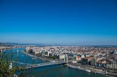 Εναέρια άποψη της Βουδαπέστης από το Hill Gellert στοκ εικόνα