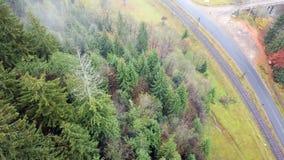Εναέρια άποψη της βουνοπλαγιάς κατά μήκος του σιδηροδρόμου και της εθνικής οδού carpathians απόθεμα βίντεο