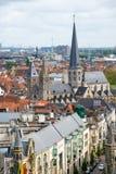 Εναέρια άποψη της Γάνδης από το καμπαναριό - όμορφα μεσαιωνικά κτήρια Βέλγων Στοκ Φωτογραφία