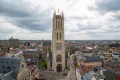 Εναέρια άποψη της Γάνδης από το καμπαναριό - όμορφα μεσαιωνικά κτήρια Βέλγων Στοκ φωτογραφία με δικαίωμα ελεύθερης χρήσης