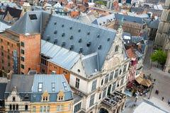 Εναέρια άποψη της Γάνδης από το καμπαναριό - όμορφα μεσαιωνικά κτήρια Βέλγων Στοκ εικόνα με δικαίωμα ελεύθερης χρήσης