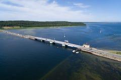 Εναέρια άποψη της γέφυρας Kronprins Frederiks στη Δανία Στοκ Εικόνα