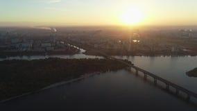 Εναέρια άποψη της γέφυρας Patona νωρίς το πρωί στην αυγή, Κίεβο, Ουκρανία απόθεμα βίντεο