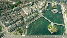 Εναέρια άποψη της Γενεύης Ελβετία απόθεμα βίντεο
