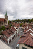 Εναέρια άποψη της εικονικής παράστασης πόλης ελβετική κύρια Βέρνη Στοκ Φωτογραφία