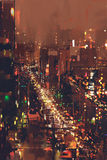 Εναέρια άποψη της εικονικής παράστασης πόλης νύχτας με το ζωηρόχρωμο φως στοκ φωτογραφία με δικαίωμα ελεύθερης χρήσης