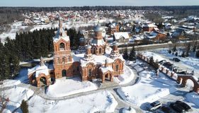 Εναέρια άποψη της εκκλησίας Exaltation του ιερού σταυρού στο χωριό Darna στοκ φωτογραφίες με δικαίωμα ελεύθερης χρήσης