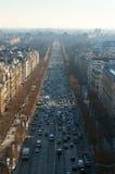 Εναέρια άποψη της λεωφόρου Champes Elysees από Arc de Triomphe Στοκ Εικόνα