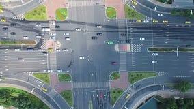 Εναέρια άποψη της διατομής κυκλοφορίας, Κίνα απόθεμα βίντεο