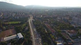 Εναέρια άποψη της λεωφόρου Βουλγαρία κυκλοφοριακής συμφόρησης της Sofia Βουλγαρία Ανατολική Ευρώπη απόθεμα βίντεο