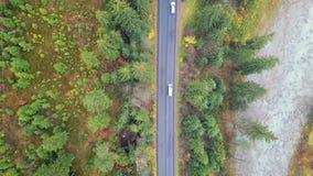 Εναέρια άποψη της μετακίνησης των οχημάτων σε έναν δρόμο βουνών carpathians Τοπ όψη φιλμ μικρού μήκους