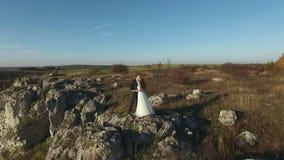 Εναέρια άποψη της νύφης και του νεόνυμφου στο υπόβαθρο των όμορφων βράχων βουνών φιλμ μικρού μήκους