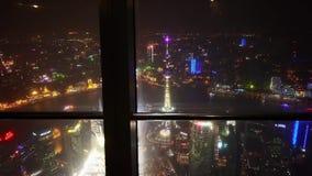 Εναέρια άποψη της νύχτα-σκηνής της Σαγκάη από την αίθουσα επίσκεψης huanqiu απόθεμα βίντεο