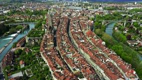 Εναέρια άποψη της παλαιάς πόλης της Βέρνης, Ελβετία απόθεμα βίντεο